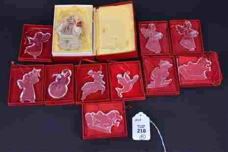 10 Baccarat Crystal Christmas Ornaments in Original