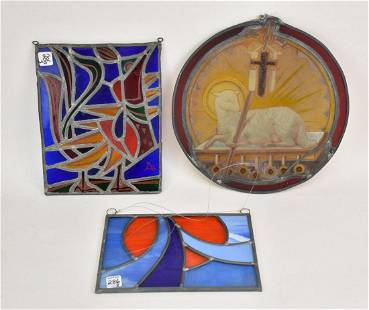 Three Stained Glass Window Panels - Round Religious