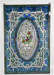 Large Stained Glass Window Panel - Featuring a flower