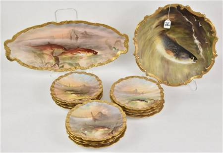 Limoges Porcelain Fish, marked verso LRI; painted