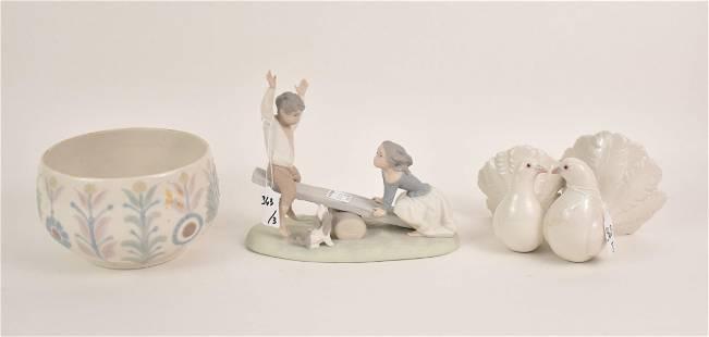 "Lladro Lovebirds (5""h x 5""w) AND Lladro Bowl (4 1/2""h x"