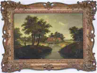 19th Century English Landscape Painting, River with a