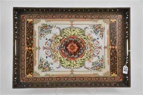 Castilian Enameled Porcelain & Bronze Serving Tray -