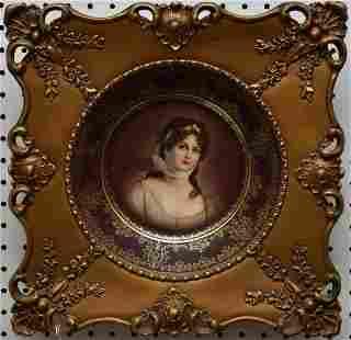Framed Royal Vienna Bavarian Porcelain Portrait Plate -