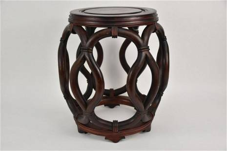 Chinese Carved Wood Drum Stool - Export garden stool