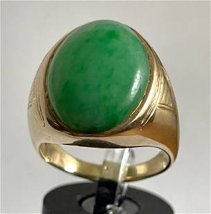 14K Yellow Gold & Jade Mans Ring size 8. Total weight