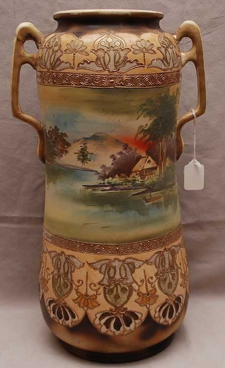 2: Large Japanese Satsuma 2 handled vase, ca. 1900, 19""