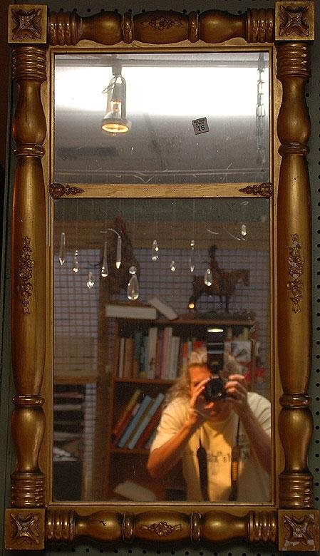 16: 19th c. gilded wood mirror, heavily decorated, some