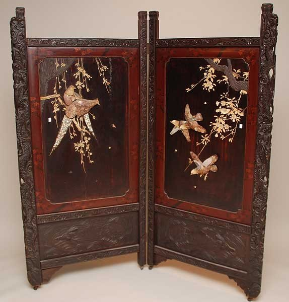 22: 2 panel oriental 19th c. screen with applied large