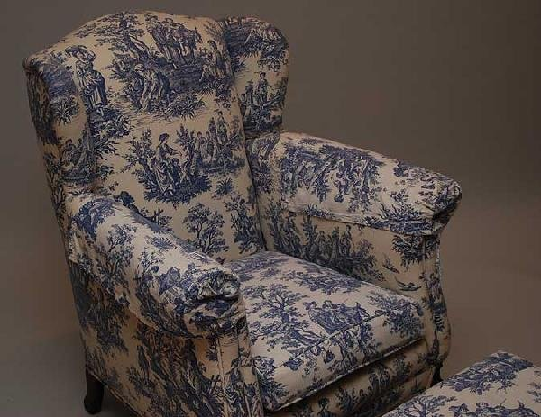 70: Small wing back chair and ottoman with blue toile f - 2