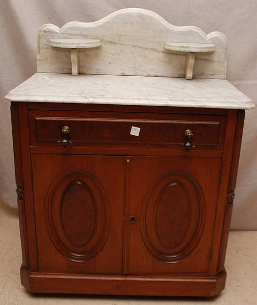 189: Antique walnut wash stand with marble top