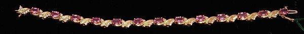 440: Bracelet, 14kt pink sapphires & diamond
