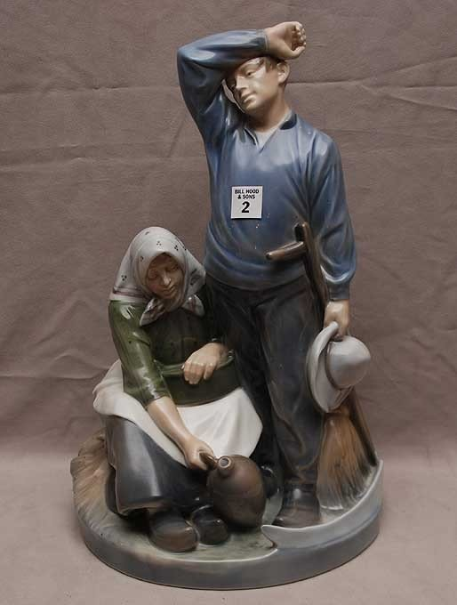 2: Royal Copenhagen group, peasant field workers with w