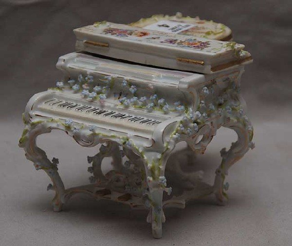 4: German porcelain piano, some flowers missing, top re