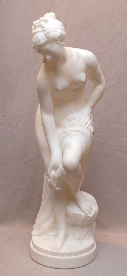 9: Classical carved alabaster sculpture of Semi nude wo