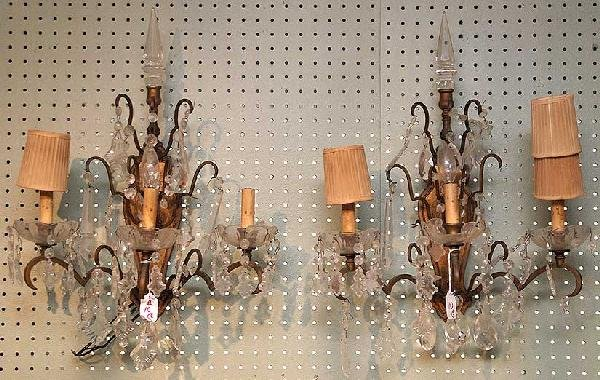 10: Pair of crystal & brass 3 branch wall sconces, pris