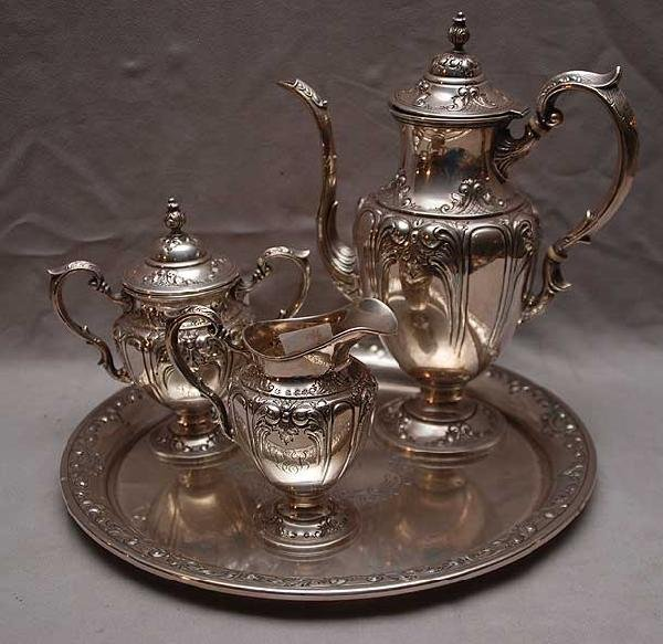 """11: Sterling 4pc. """"Fisher 2822""""  hand chased  tea servi"""