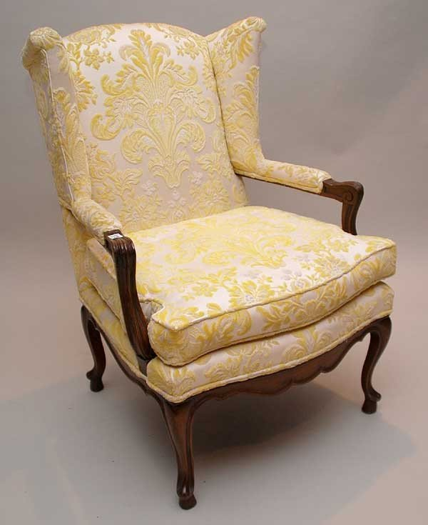 18: Small wingback with wood frame, yellow cut velvet d