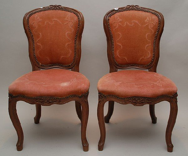 19: Pair Louis XVI style side chairs carved bow at cres