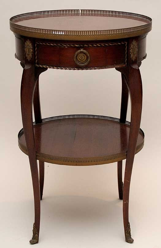 20: Mahogany round 2 tier occasional table with pierced