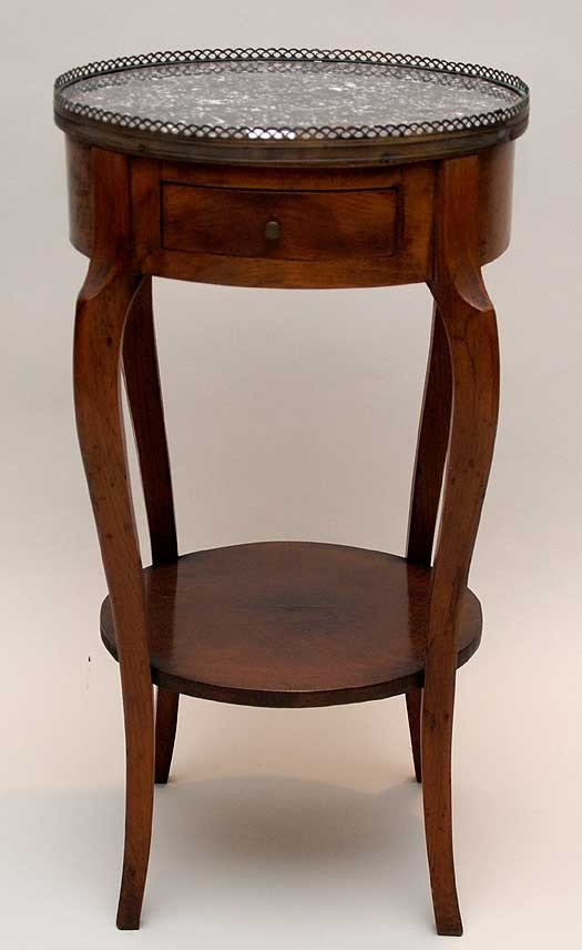 24: French style fruitwood table with 2 tier with marbl
