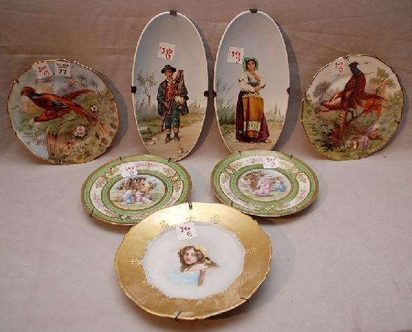 77: 7 European plates, incl; 1 pair Vienna with allegor