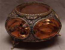 227 Vintage Glass   Gilt metal Box with Costume Jewel