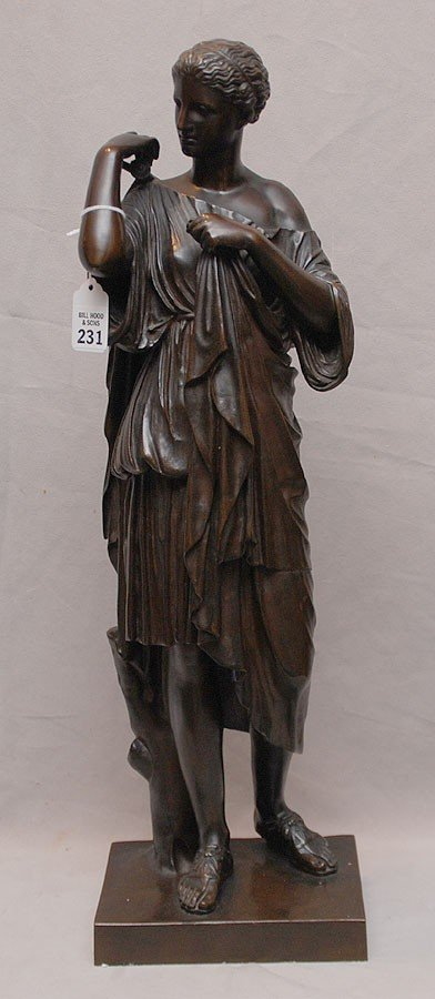 231: 19th Century Classical Patinated bronze figure, 19