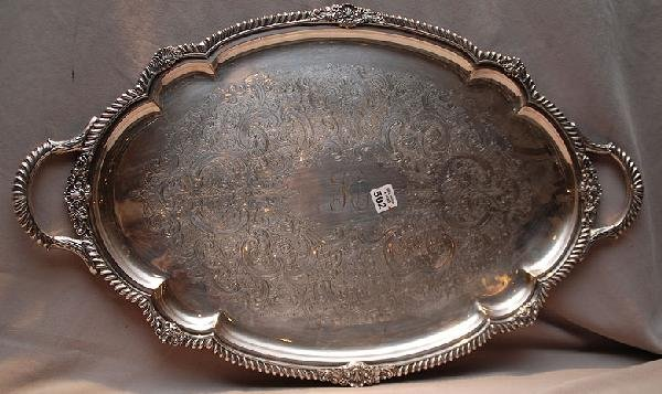 "502: Heavily etched ""Gorham"" silver plated tray, monogr"