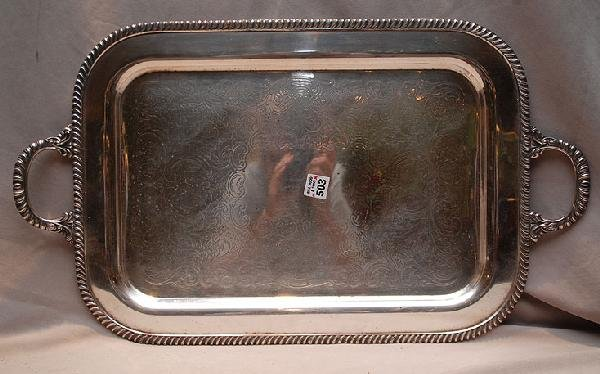 "503: Scrolled silver plated tray, 26""L x 14 3/4""W"