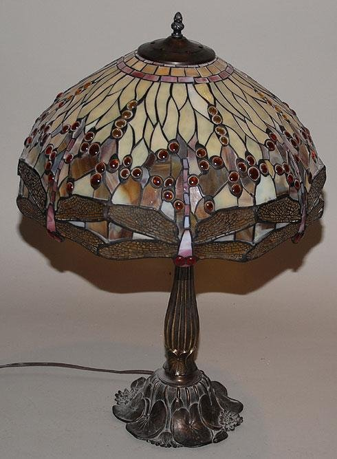 504: Dragon fly art glass table lamp on pot metal lily