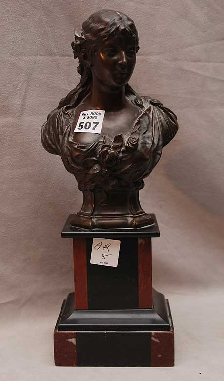 507: 19th Century German Bronze female bust on marble s
