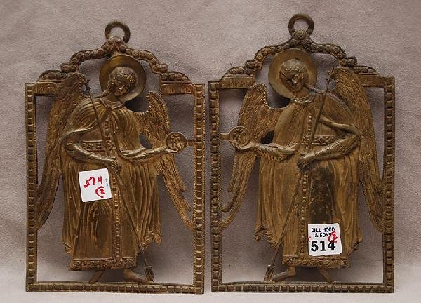 514: Pr. Antique Russian bronze arch angel cut outs, ea