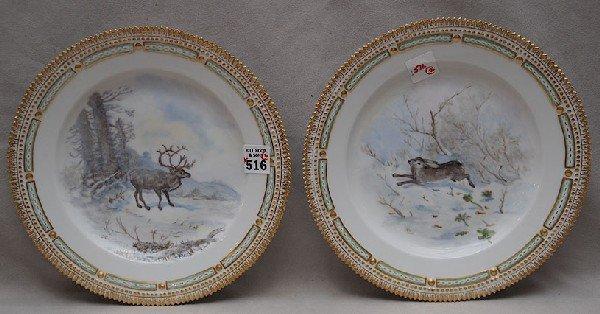 516: Two plates, Royal Copenhagen, Flora Danica