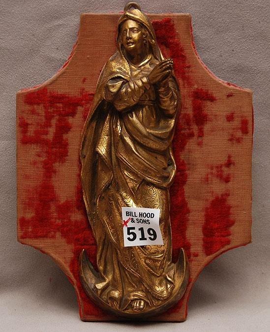 "519: Gilt bronze Madonna on wood backing, 7 1/2""h"