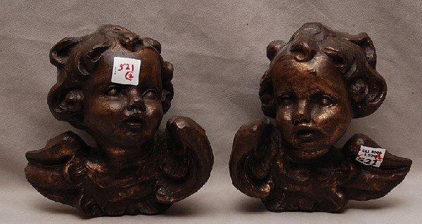 """521: Pr. Of carved wood puttis, 7 1/2""""L x 4 1/2""""h,"""