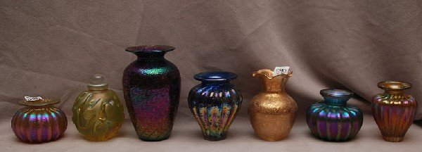 590: 7 art glass vases, mostly iridescent and 1 perfume
