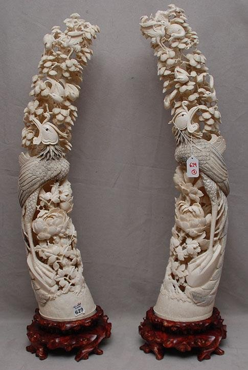 629: Pair Chinese carved Ivory Tusks , Phoenix Birds