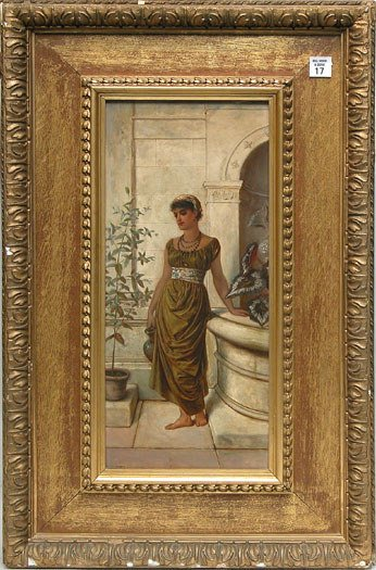 17: 19th century oil on board of a maiden at a fountain