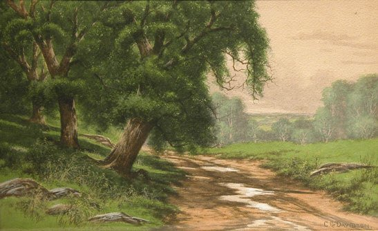 "18: Watercolor landscape circa 1900 ""A Road in the Wood"