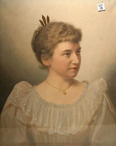 19: Pastel portrait of a Victorian Woman, plaque on bac