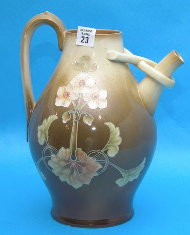 23: Odd shaped hand painted Art Nouveau vase by Royal B
