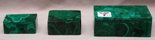 "7: Set of 3 graduated Malachite boxes, 1""h to 2""h"