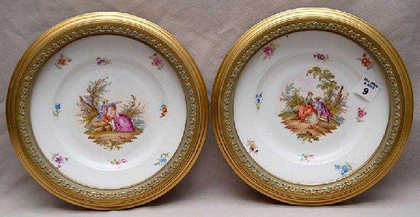 9: Pair framed signed Meissen plates, floral design wit