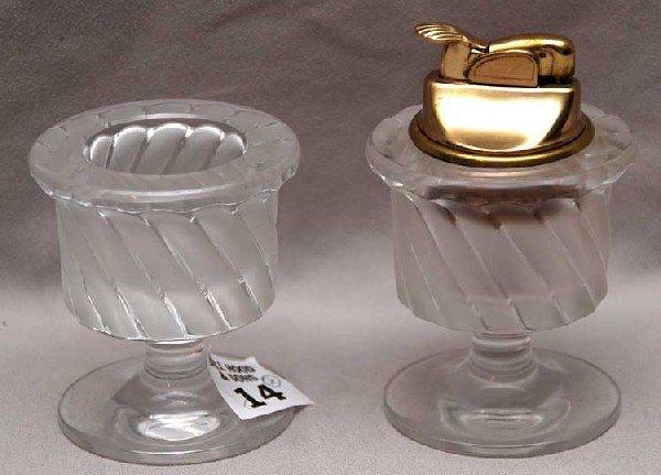 14: Lalique 2 piece cigarette set, lighter and cigarett