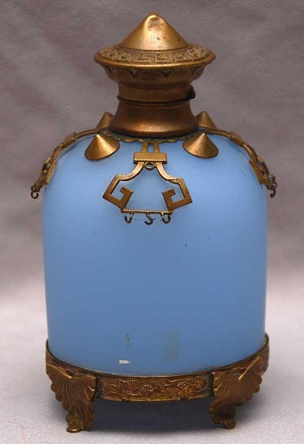 16: Blue satin glass perfume bottle with brass deco sty