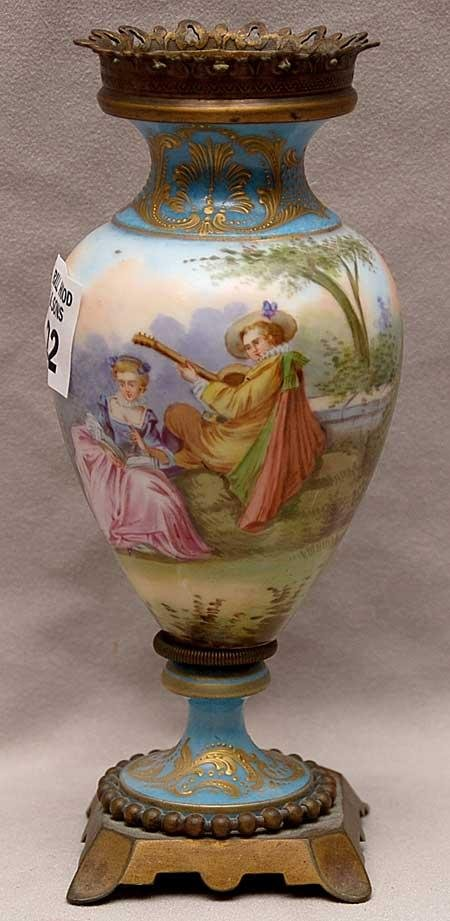 22: Antique French porcelain vase with landscaping and