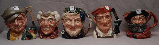 "1: 5 Royal Doulton mugs, incl; ""The Gardener""  D6630,""B"