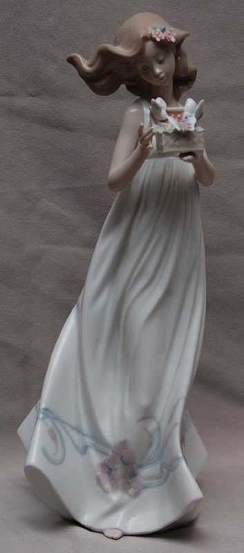 8: Lladro figurine, young girl with box, butterflies, 1