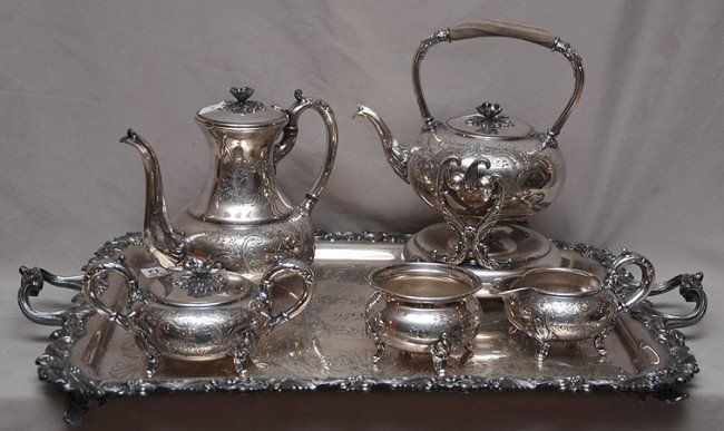 12: Fabulous 6pc French silver plate tea service incl;